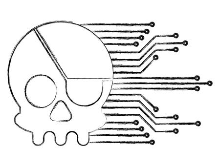 cyber security skull piracy crime technology circuits vector illustration Banco de Imagens - 100195603