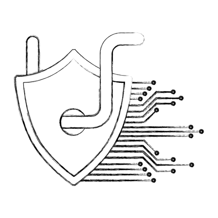 cyber security shield protection worm virus circuit technology hacking vector illustration