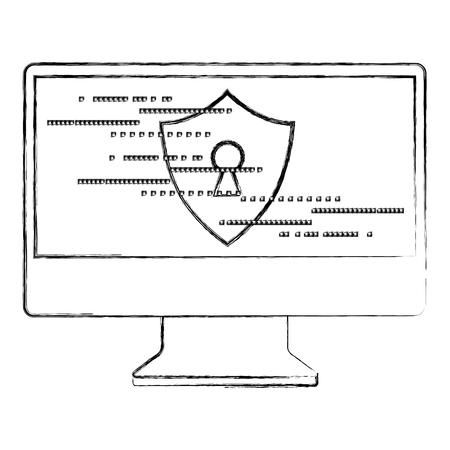 computer screen access security shield keyhole vector illustration Archivio Fotografico - 100195610