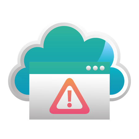 cloud computing with alert symbol vector illustration design