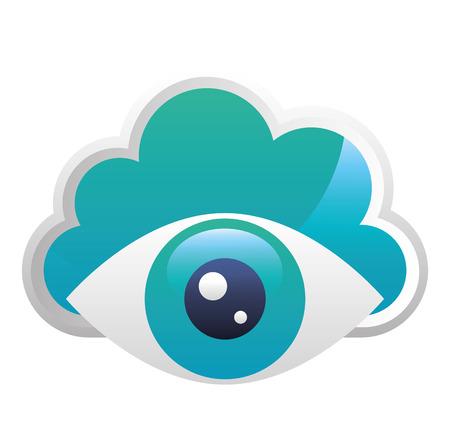 cloud computing with eye human vector illustration design