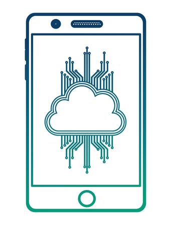 smartphone with cloud computing and circuit electric vector illustration design Illusztráció