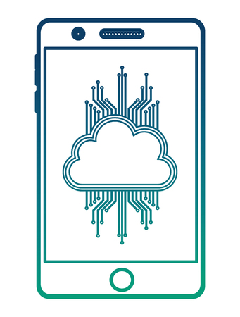 smartphone with cloud computing and circuit electric vector illustration design Illustration