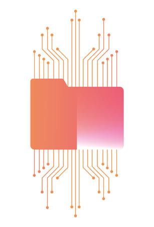 folder document with electric circuit vector illustration design Ilustração