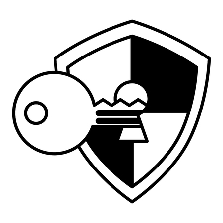 shield guard with padlock hole and key vector illustration design