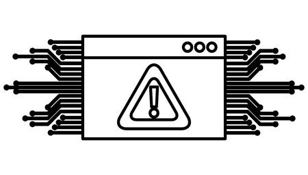template webpage with alert sign and circuit vector illustration design Ilustração