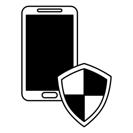 smartphone with shield guard vector illustration design