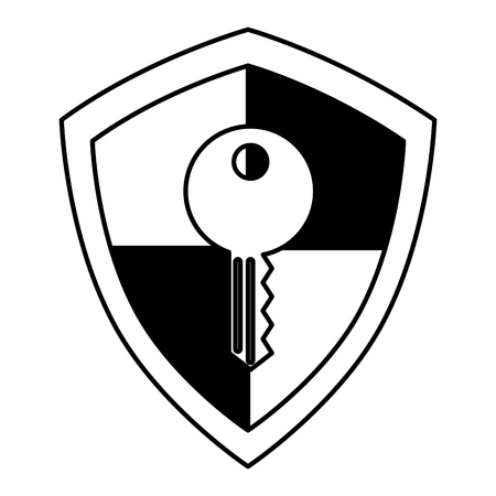 shield guard with key vector illustration design