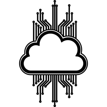 cloud computing electric circuit vector illustration design