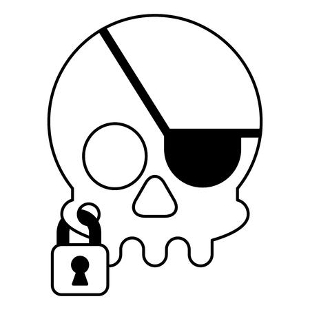 pirate skull virus attack with padlock vector illustration design