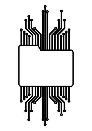 folder document with electric circuit vector illustration design Illustration