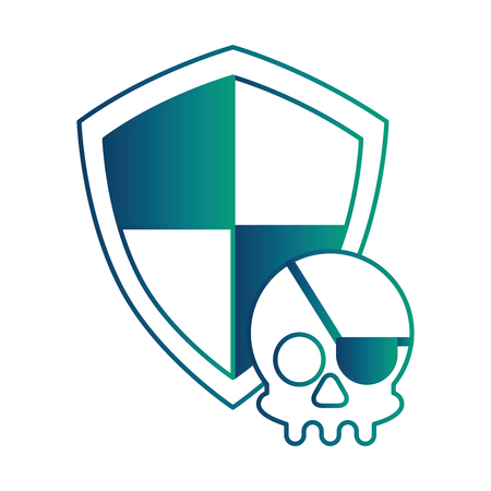 shield guard with pirate skull vector illustration design
