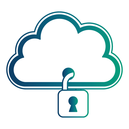 cloud computing with safe secure padlock vector illustration design