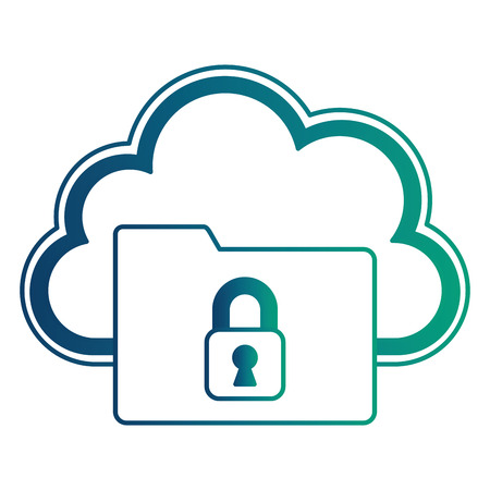 cloud computing with folder and safe secure padlock vector illustration design