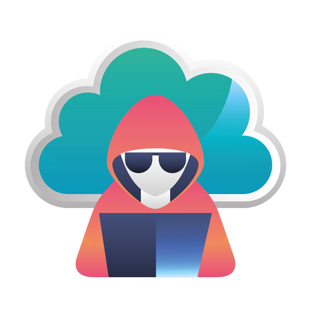cloud computing with hacker character vector illustration design Illustration