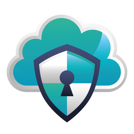 shield guard with cloud and padlock hole vector illustration design