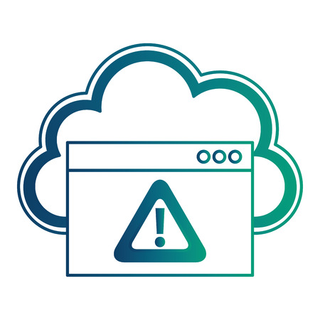 cloud computing with alert symbol vector illustration design