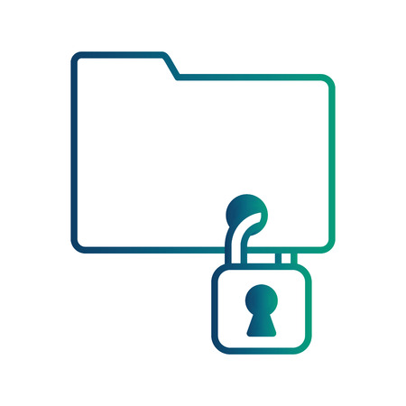 folder with safe secure padlock vector illustration design