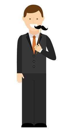 elegant man with mustache hipster vector illustration design Çizim
