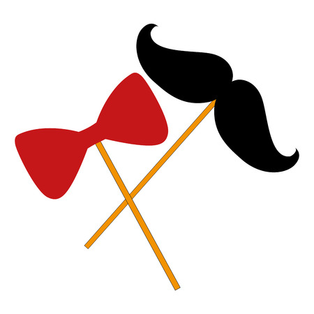 mustaches with stick crossed icon vector illustration design