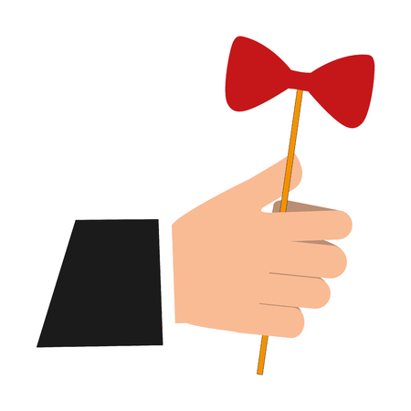 hand with bow in stick icon vector illustration design