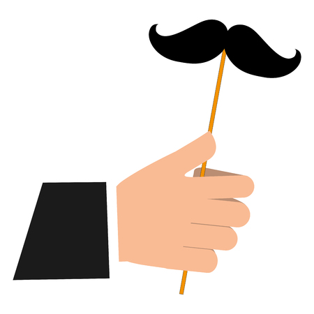 hand with mustache in stick icon vector illustration design