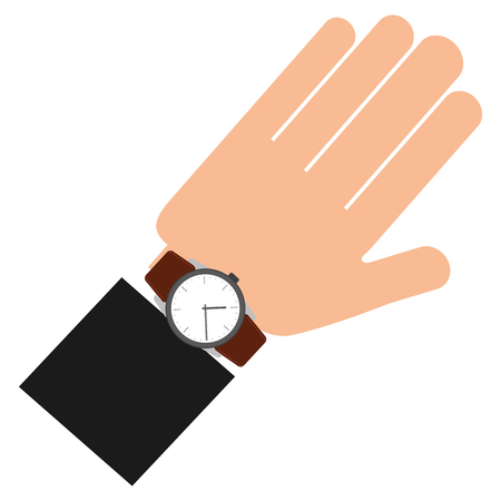 hand with wristwatch masculine isolated icon vector illustration design 向量圖像
