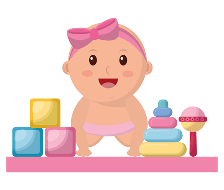 baby girl with diaper and toys icon vector illustration design