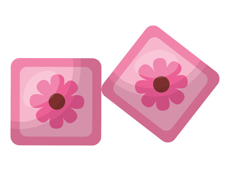 cubes toys of baby with flower icon vector illustration design