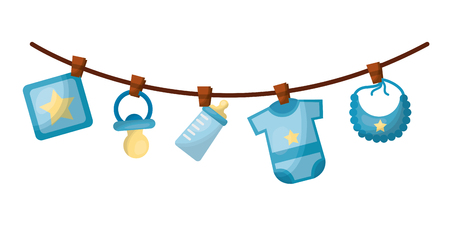 set baby boy accessories hanging icon vector illustration design