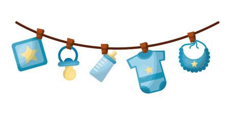 Conjunto de accesorios para bebés colgantes, diseño de ilustraciones vectoriales icono