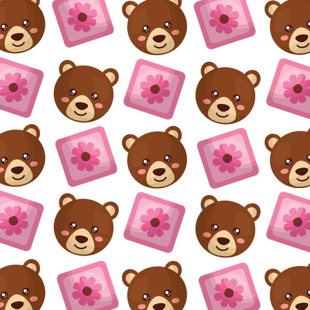 cubes toys of baby and teddy bear pattern vector illustration design