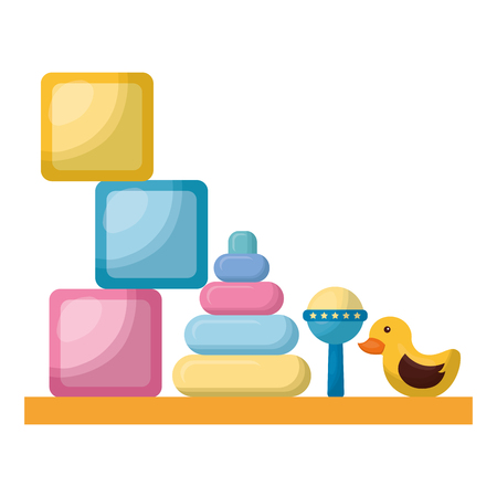 toys of baby with shelf icon vector illustration design