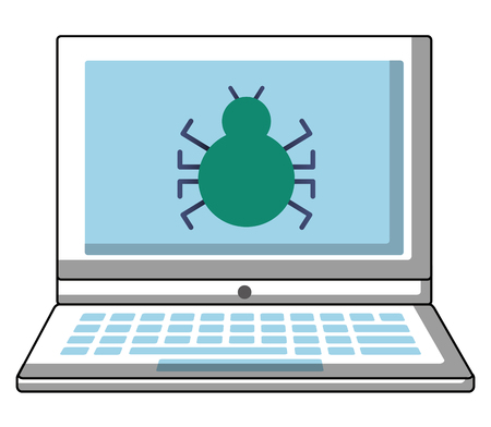 laptop computer with bug virus vector illustration design