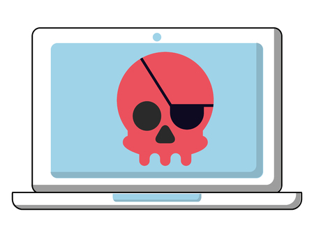 laptop computer with pirate skull vector illustration design