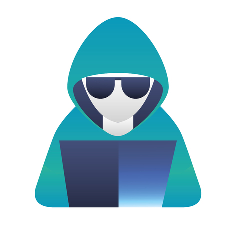 hacker with laptop character vector illustration design Stock Illustratie