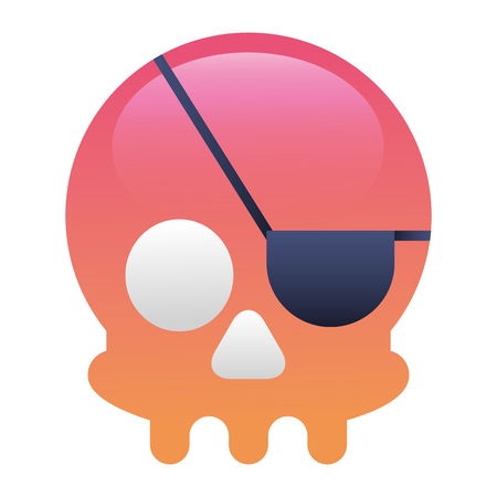 pirate skull virus attack vector illustration design