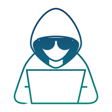 hacker with laptop character vector illustration design Illusztráció