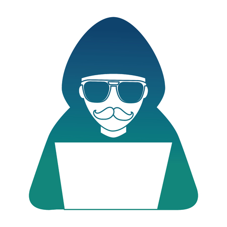 hacker with laptop character vector illustration design Çizim