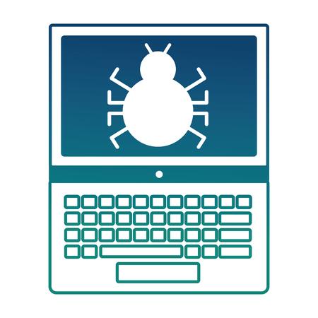 laptop computer with bug virus vector illustration design