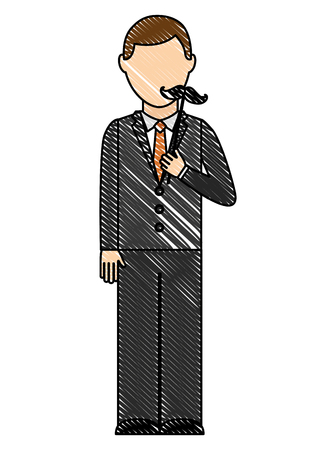 elegant man with mustache hipster vector illustration design Illustration