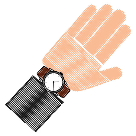 hand with wristwatch masculine isolated icon vector illustration design Ilustrace