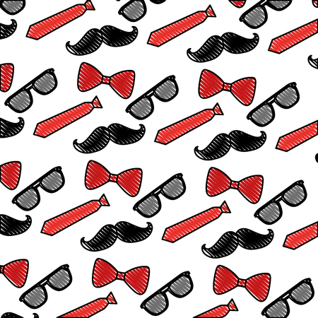 hipster mustache with tie and sunglasses pattern background vector illustration design