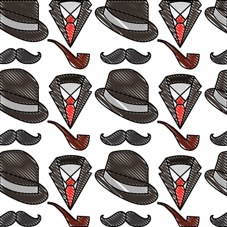 hat with mustache and pipe pattern background vector illustration design 矢量图像