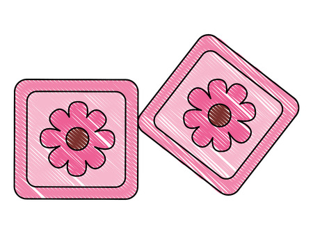 cubes toys of baby with flower icon vector illustration design Standard-Bild - 100202237
