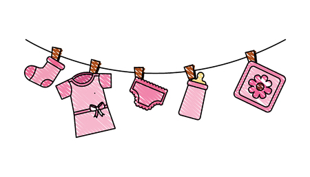 set baby girl accessories hanging icon vector illustration design