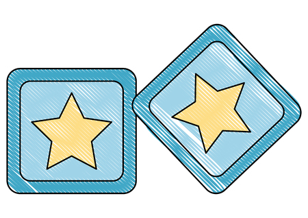 cubes toys of baby with star icon vector illustration design  イラスト・ベクター素材