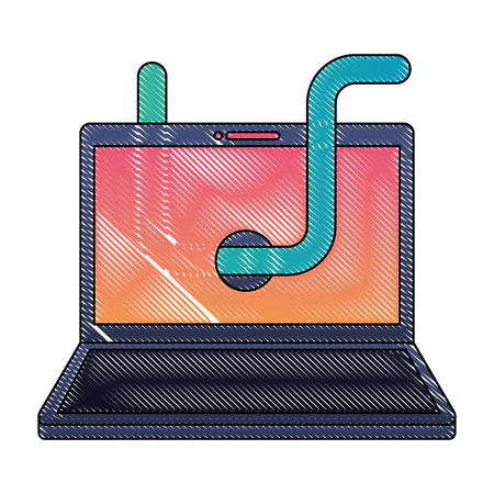 laptop computer with worm virus infect vector illustration design