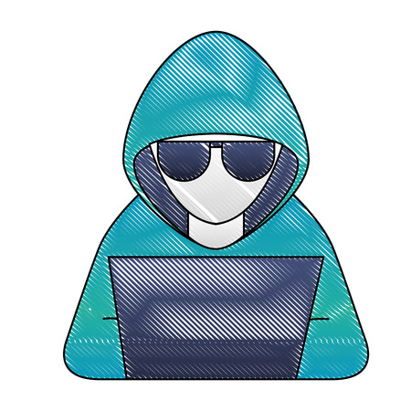 hacker with laptop character vector illustration design Stock Illustratie