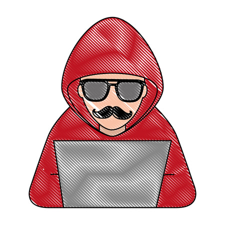 hacker with laptop character vector illustration design Stok Fotoğraf - 100202220